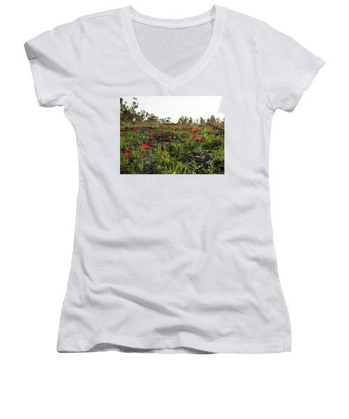 Anemones Forest Women's V-Neck T-Shirt (Junior Cut) by Yoel Koskas