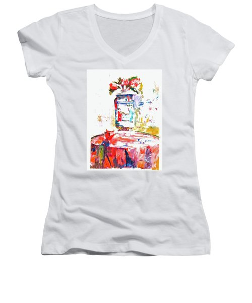 Anemones In A Chinese Vase After Edouard Vuillard Women's V-Neck T-Shirt