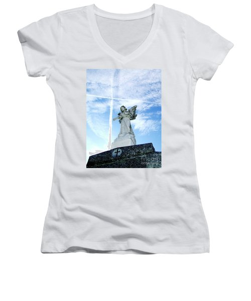 Angel And Crosses Women's V-Neck T-Shirt