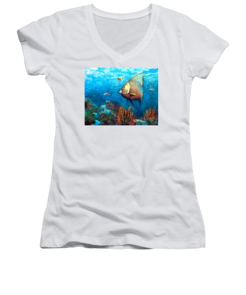 Women's V-Neck featuring the painting Angel Fish by Andrew King