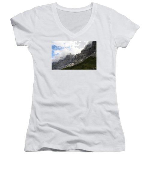 Angel Horns In The Clouds Women's V-Neck T-Shirt (Junior Cut) by Ernst Dittmar