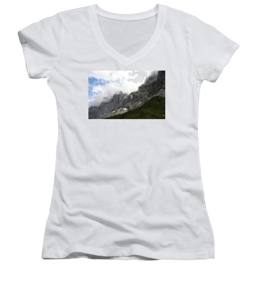 Angel Horns In The Clouds Women's V-Neck (Athletic Fit)