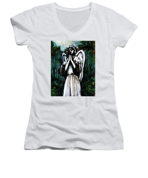 Angel In The Garden Women's V-Neck T-Shirt
