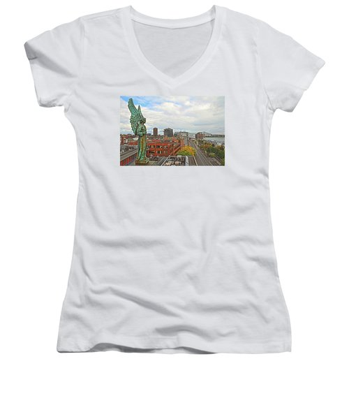 Angel Of Old Montreal Women's V-Neck T-Shirt (Junior Cut) by Alice Gipson