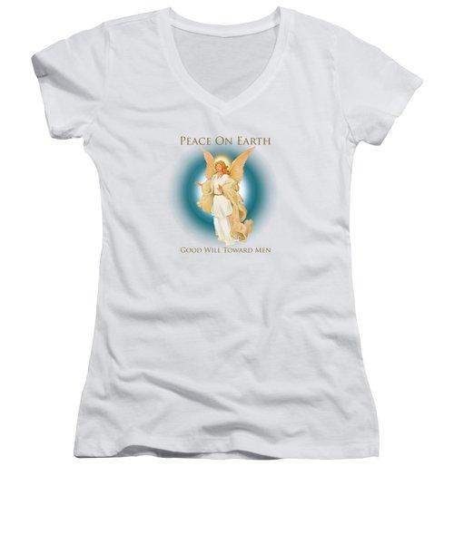 Angel On Blue Women's V-Neck