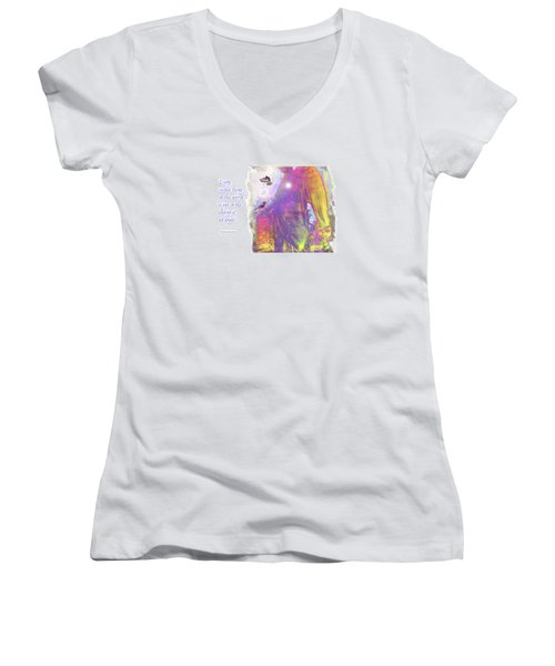 Women's V-Neck T-Shirt (Junior Cut) featuring the photograph Angel Vision by Marie Hicks