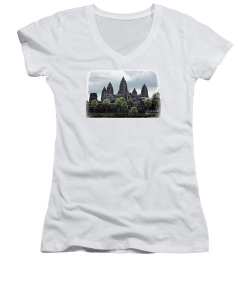 Angkor Wat Focus  Women's V-Neck T-Shirt (Junior Cut) by Chuck Kuhn