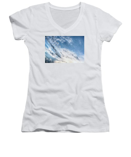 Women's V-Neck T-Shirt (Junior Cut) featuring the photograph Angry Clouds by Susan Stone