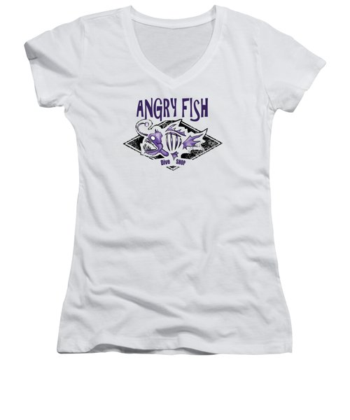 Angry Fish Women's V-Neck (Athletic Fit)
