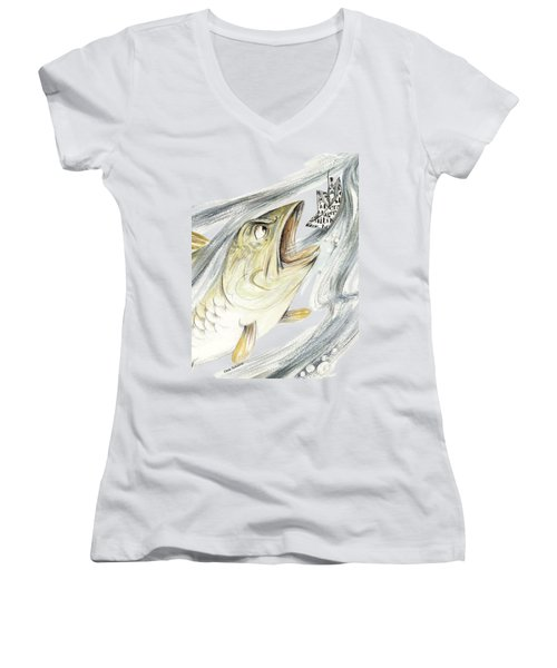 Angry Fish Ready To Swallow Tin Soldier's Paper Boat - Horizontal - Fairy Tale Illustration Fragment Women's V-Neck T-Shirt (Junior Cut)