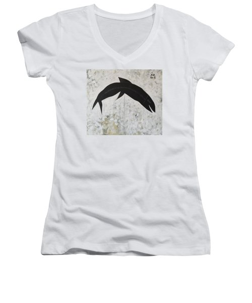 Animalia Black Fish Women's V-Neck T-Shirt (Junior Cut)