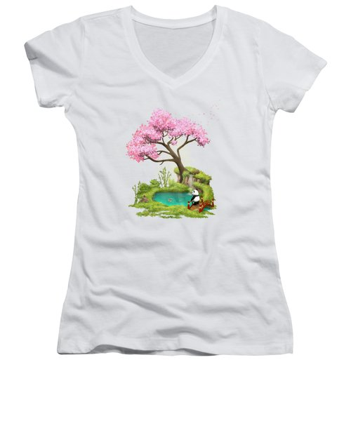 Anjing II - The Zen Garden Women's V-Neck T-Shirt (Junior Cut) by Carlos M R Alves
