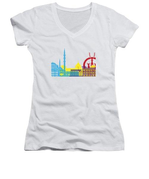 Ankara Skyline Pop Women's V-Neck T-Shirt (Junior Cut) by Pablo Romero