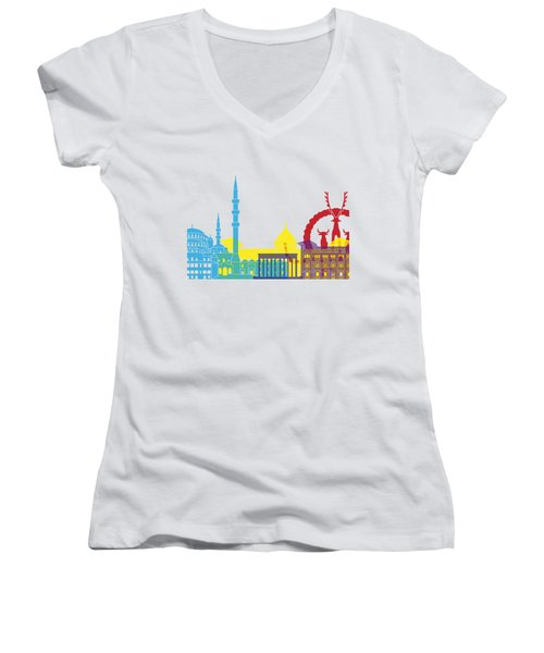 Ankara Skyline Pop Women's V-Neck (Athletic Fit)