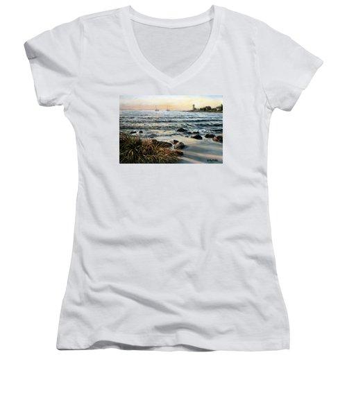 Annisquam Beach And Lighthouse Women's V-Neck T-Shirt