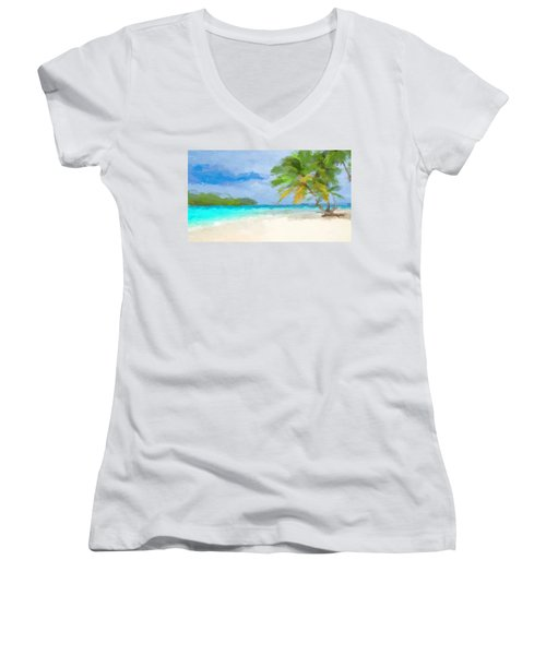 Another Day In Paradise  Women's V-Neck (Athletic Fit)