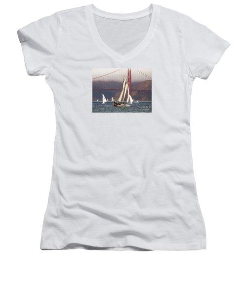 Another Fine Day Women's V-Neck T-Shirt (Junior Cut) by Scott Cameron