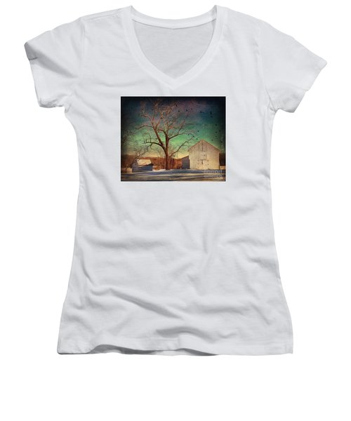 Another Winter Day  Women's V-Neck T-Shirt (Junior Cut) by Delona Seserman