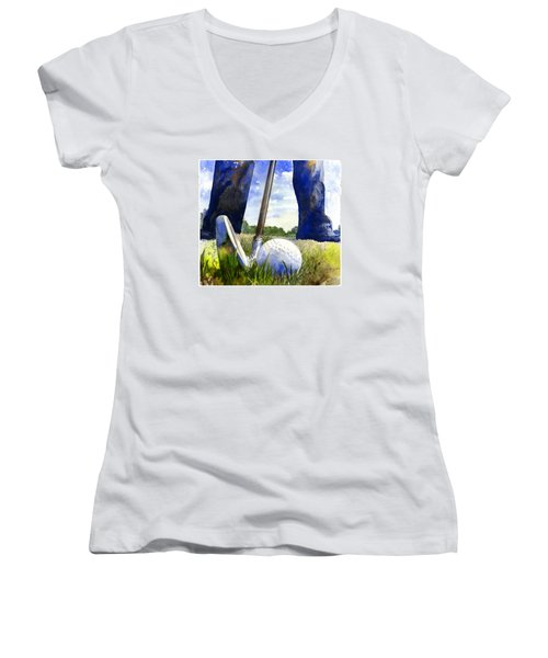 Women's V-Neck featuring the painting Anticipation by Andrew King