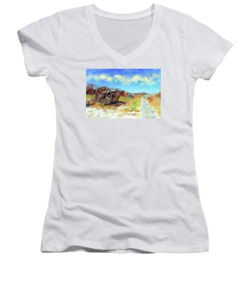 Antietam Under Blue Skies  Women's V-Neck T-Shirt (Junior Cut) by Lois Bryan