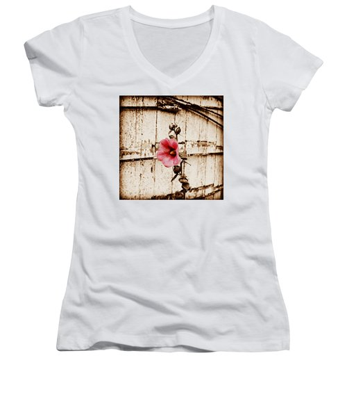 Antique Flower Women's V-Neck T-Shirt (Junior Cut) by Julie Hamilton