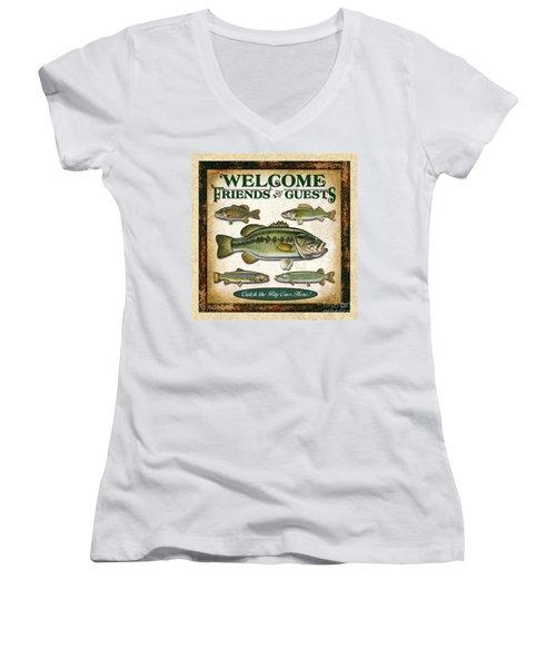 Antique Lure Fish Panel Three Women's V-Neck T-Shirt (Junior Cut) by JQ Licensing Jon Q Wright