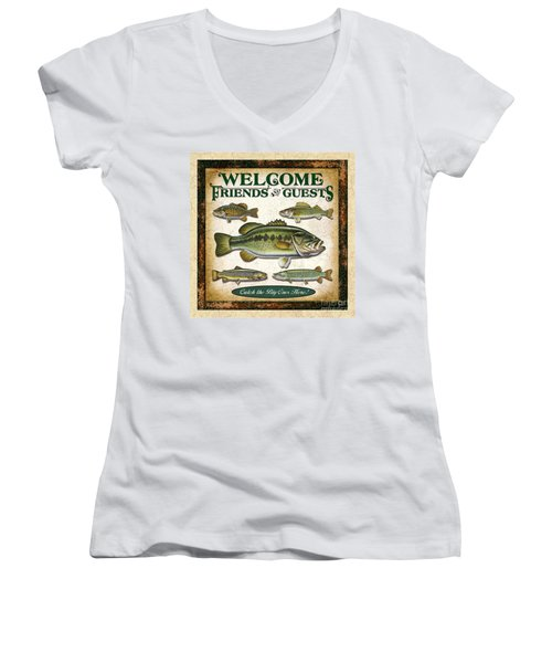 Antique Lure Fish Panel Three Women's V-Neck T-Shirt