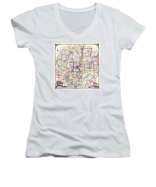Horse Carriage Era Driving Map Of Hartford Connecticut Vicinity 1884 Women's V-Neck T-Shirt (Junior Cut) by Phil Cardamone