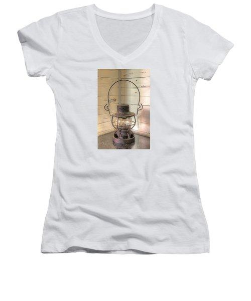 Antique Weighted Kerosene Lantern Women's V-Neck T-Shirt (Junior Cut) by Gary Slawsky