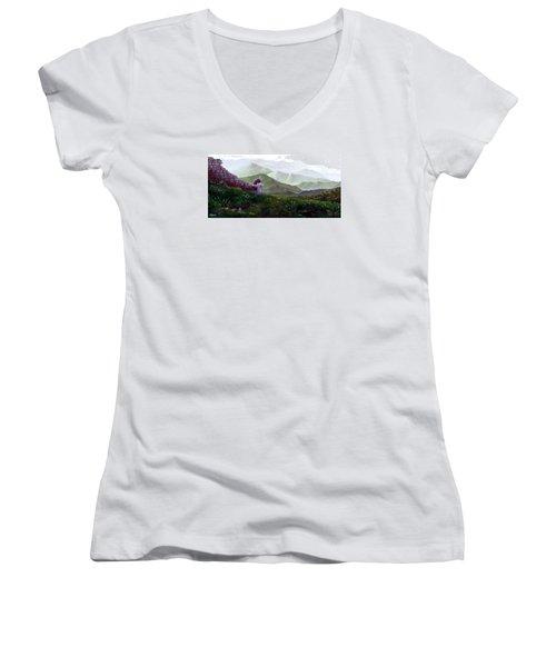 Antonio Atop La Rocca De Monte Calvo Women's V-Neck T-Shirt (Junior Cut) by Albert Puskaric