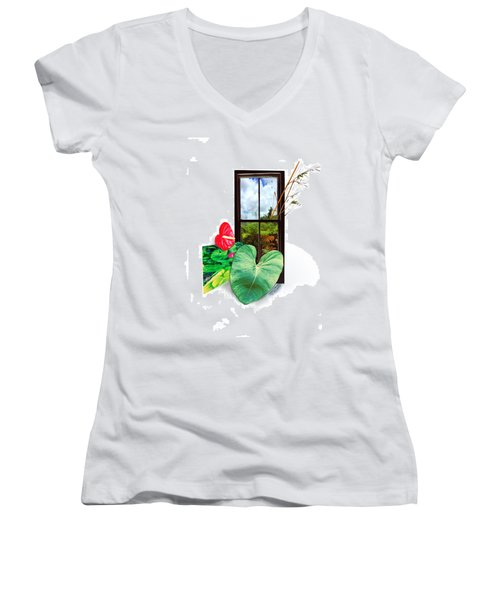 Anthurium 2 Women's V-Neck T-Shirt