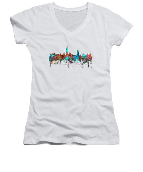 Antwerp Belgium Skyline Women's V-Neck T-Shirt (Junior Cut) by Marlene Watson
