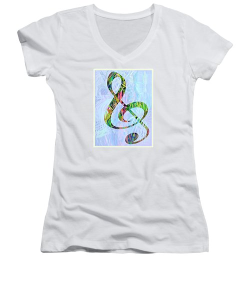 Any Kind Of Music Will Do Women's V-Neck T-Shirt (Junior Cut) by Mindy Newman