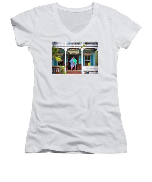 Anybody Home Women's V-Neck T-Shirt (Junior Cut) by Judy Kay