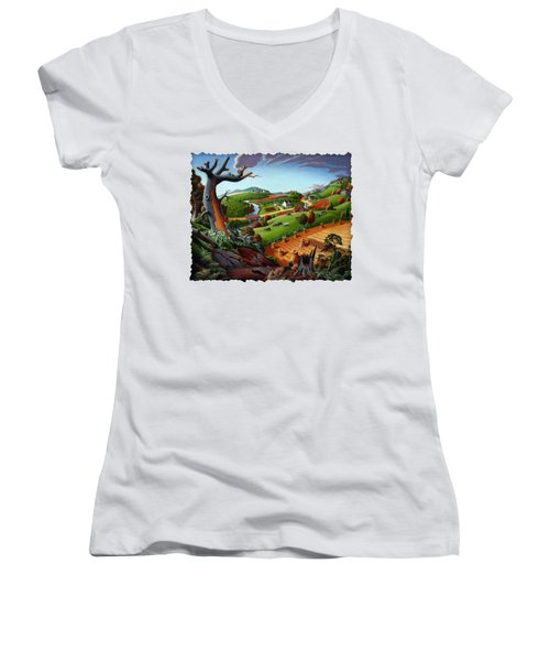 Appalachian Fall Thanksgiving Wheat Field Harvest Farm Landscape Painting - Rural Americana - Autumn Women's V-Neck T-Shirt