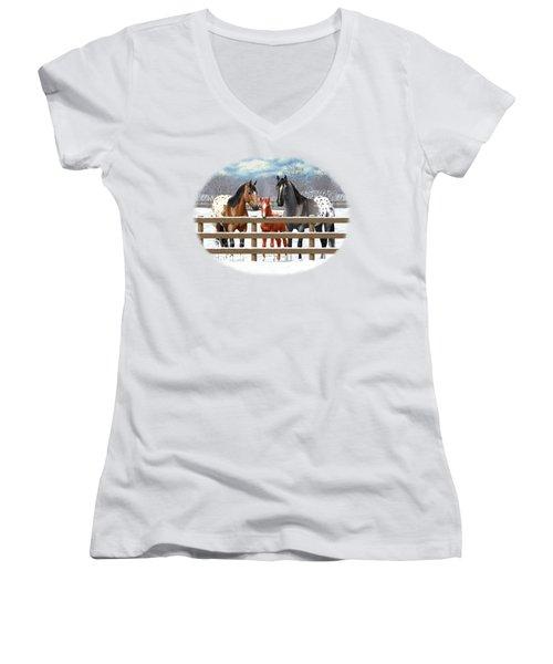Appaloosa Horses In Winter Ranch Corral Women's V-Neck T-Shirt