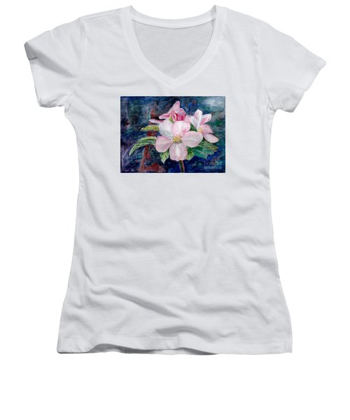Apple Blossom - Painting Women's V-Neck T-Shirt (Junior Cut) by Veronica Rickard