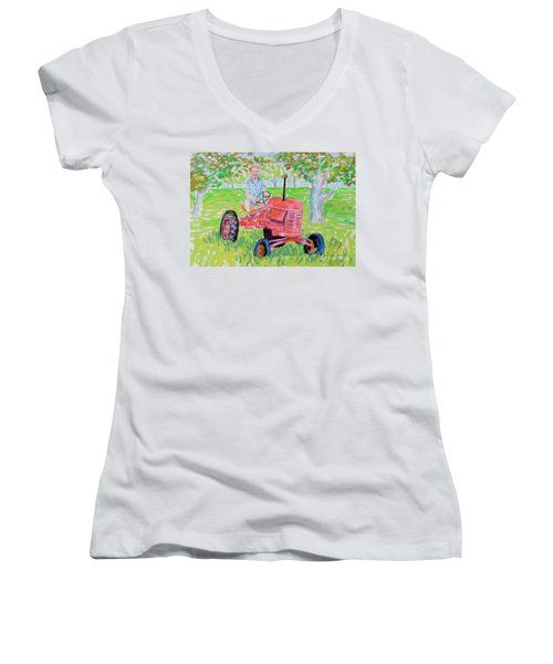 Apple Tree Farmer Sean Smith Women's V-Neck T-Shirt (Junior Cut) by Rae  Smith