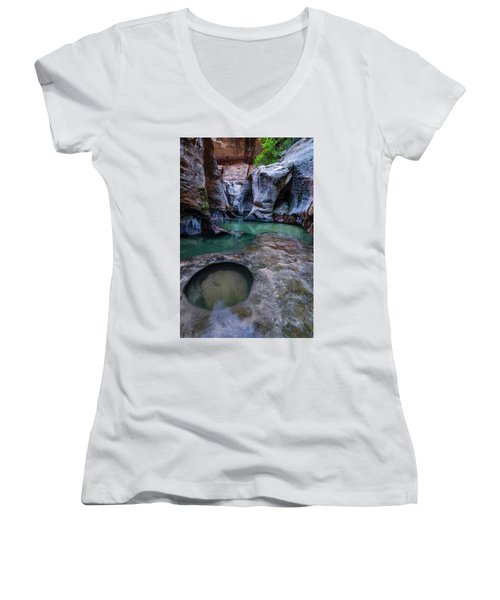 Women's V-Neck T-Shirt (Junior Cut) featuring the photograph Aquamarine  by Dustin LeFevre