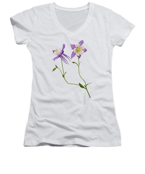 Aquilegia Specimen Women's V-Neck T-Shirt (Junior Cut) by Jane McIlroy