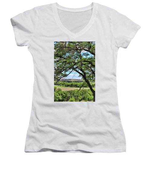 Arbor Vista Women's V-Neck T-Shirt (Junior Cut) by Sylvia Thornton