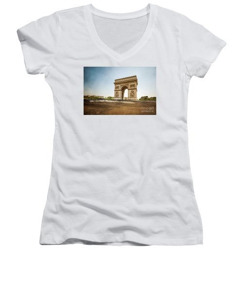 Women's V-Neck T-Shirt (Junior Cut) featuring the photograph Arc De Triumph by Hannes Cmarits
