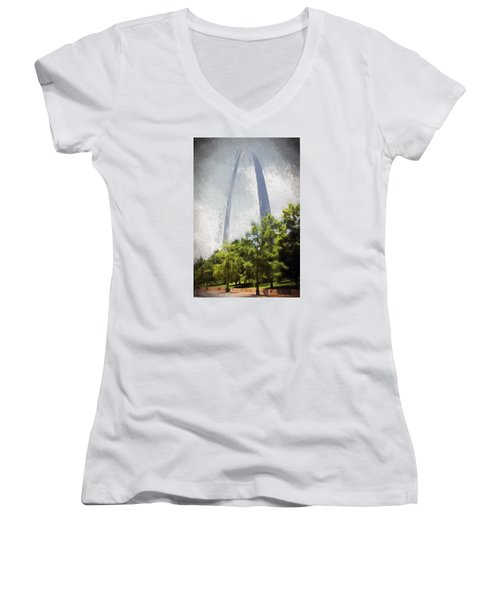 Arch And Clouds Women's V-Neck T-Shirt (Junior Cut) by John Freidenberg