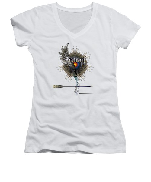 Archery Bow Wing Women's V-Neck T-Shirt (Junior Cut) by Rob Corsetti
