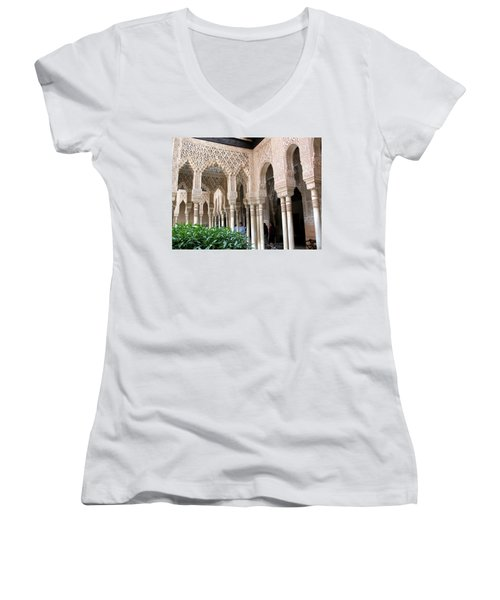 Women's V-Neck T-Shirt (Junior Cut) featuring the photograph Arches And Columns Granada by Jacqi Elmslie