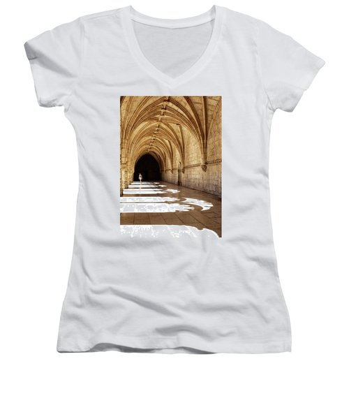 Arches Of Jeronimos Women's V-Neck T-Shirt (Junior Cut) by Marion McCristall