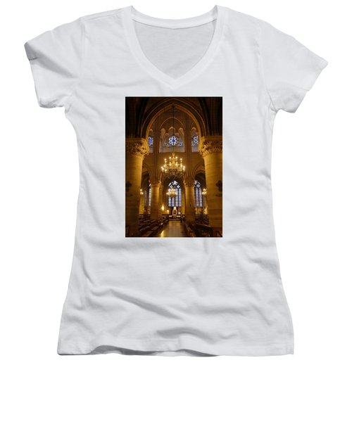 Architectural Artwork Within Notre Dame In Paris France Women's V-Neck T-Shirt