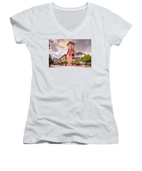 Architectural Photograph Of Minute Maid Park Home Of The Astros - Downtown Houston Texas Women's V-Neck (Athletic Fit)
