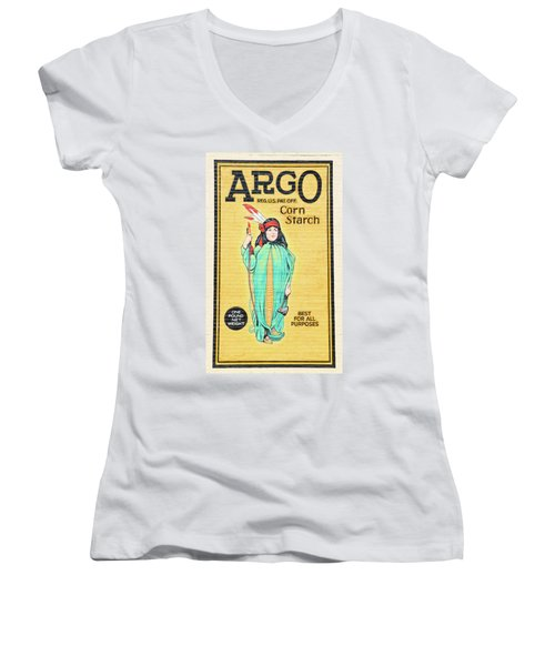 Argo Corn Starch Wall Advertising Women's V-Neck T-Shirt
