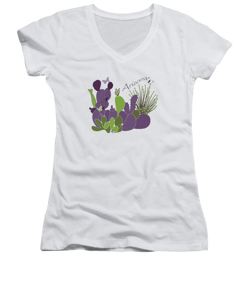 Arizona Cacti Women's V-Neck T-Shirt (Junior Cut) by Methune Hively